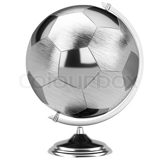 Stylish stainless steel globe of the soccer tournament (isolated on white version)