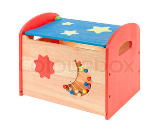Colorful wooden toy box isolated on white background