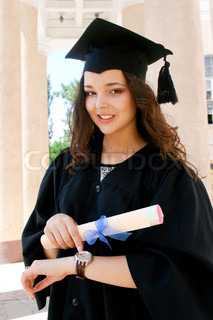 Young caucasian student in gown with watch