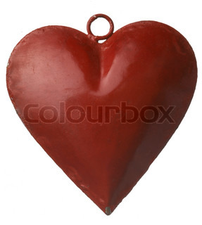Close up image of Christmas decoration - a red heart