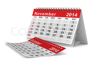 2014 year calendar November Isolated 3D image