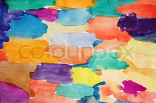 Watercolor multicoloured hand painted art background for scrapbooking