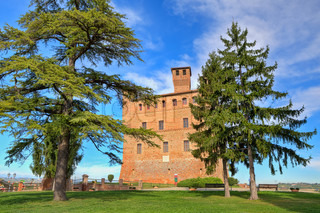 View on red brick ancient castle among trees under bluew sky with white clouds in Grinzane cavour, Piedmont, Italy.