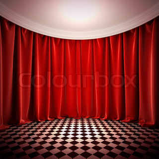 Empty hall with red curtains