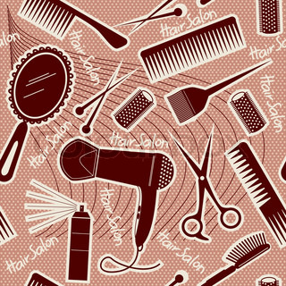 hairdressing equipment seamless patternVector background