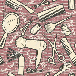 hairdressing equipment seamless patternVintage background on old texture