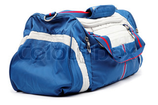 Blue sports bag isolated on a white background
