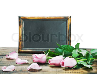 black board and pink roses