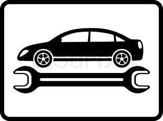 auto service icon with black car silhouette and wrench on white background