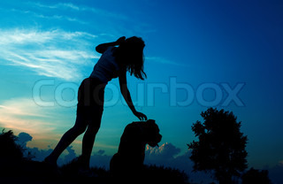 girl and dog silhouette