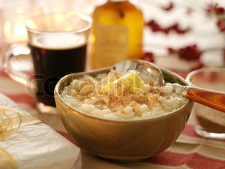 Christmas rice porridge with cinnamon