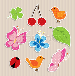 Scrapbook elements - nature textile stickers