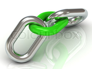 Two units are connected by a steel chain link green plastic