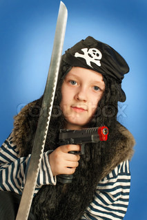 Pirate boy with gun and sword Halloween finery