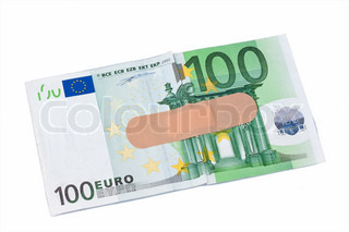 euro banknotes with adhesive plaster