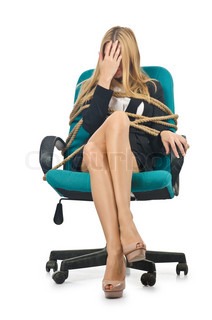 Businesswoman woman tied up with rope on white