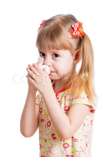 kid wiping or cleaning nose with tissue isolated on white