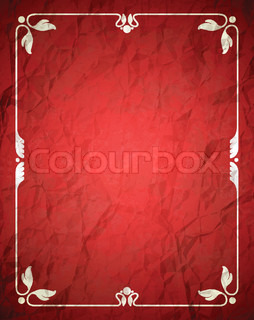 Crumpled red frame with ornament