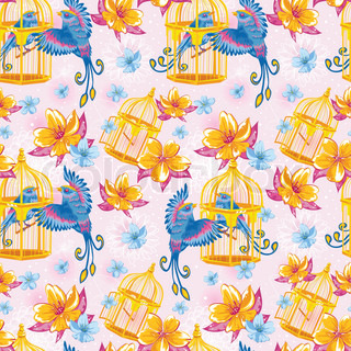Dream colorful seamless pattern with birds and golden cages and bright flowers on dots and line art background