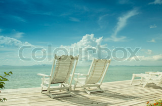 Summer white wood beach chair