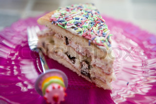 Slice of a birthday cake