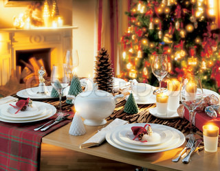 Image of 'christmas, table, christmas dinner'