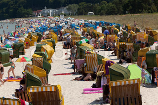 Holiday on the beach at Rygen, Germany.