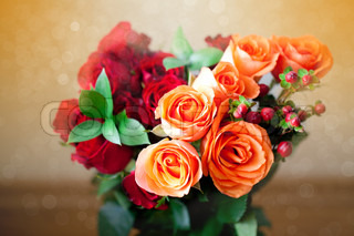 bouquet of colorful roses with bokeh