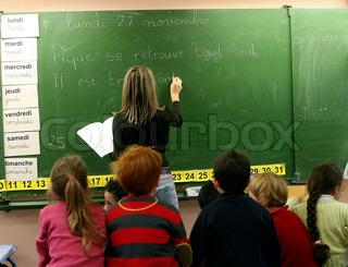Billede af 'lærer, tavler, klasse'