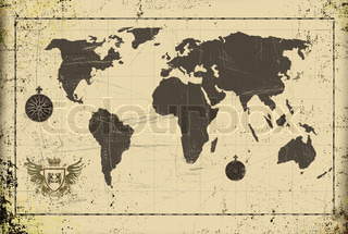 Grunge ancient world map with coat of arms
