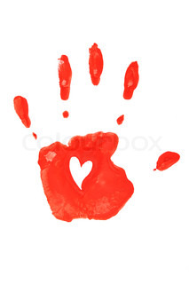 Handprint in red isolated on white background