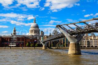Millennium Bridge and Saint Paul's Cathedral in London, United Kingdom