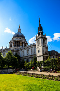 Saint Paul's Cathedral in London on Sunny Day, United Kingdom