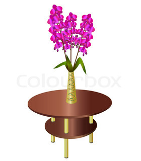 Bouquet of orchids in vase on coffee table, element of ...
