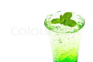 Apple italian Soda with mint leaf