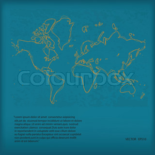 Hand Drawn Vector World Map on Green Grunge Paper,Eps10