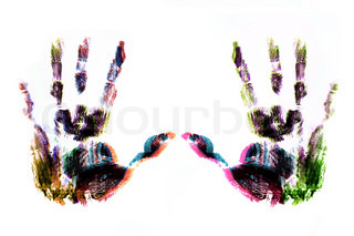 two hand print overlap color