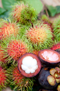 Mangosteen and rambutan are one of delicious thai fruit