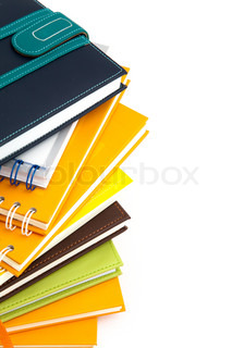 notebook stack on white isolated
