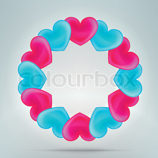 Heart photo border frame in round circle shape, made of pink and blue eps10 vector elements