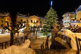 Illuminated Central Square of Megeve on Christmas Eve, French Alps, France