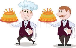 Cartoon kochen mit urlaub hochzeitstorte stock vektor for Koch und kellner