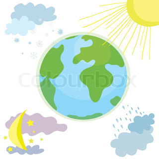 Globe weather icon with day and night