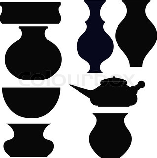 Set of black silhouettes pots
