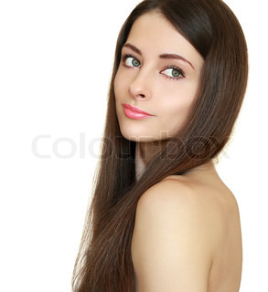 Beauty girl with health long hair looking back calm isolated on white