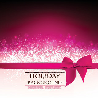 ElegantHoliday Red background with bow and place for text Vector Illustration