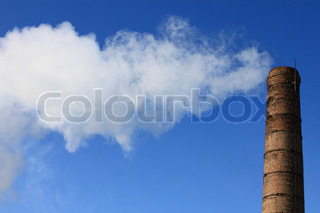 The factory pipe on blue sky background