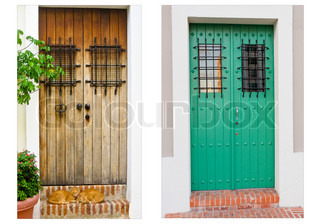 Collage of two doors in Old San Juan, Puerto Rico