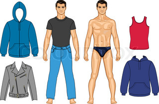 Man and clothes colored collection