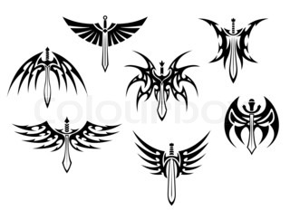 Swords and daggers tribal tattoos